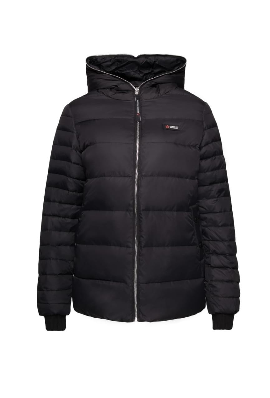 Woman's midseason jacketВерхняя одежда<br>Woman's midseason jacket with sintepon.A fitted silhouette with two pockets and a hood.<br><br>Цвет: Черный<br>Размер: L<br>Пол: Женщинам