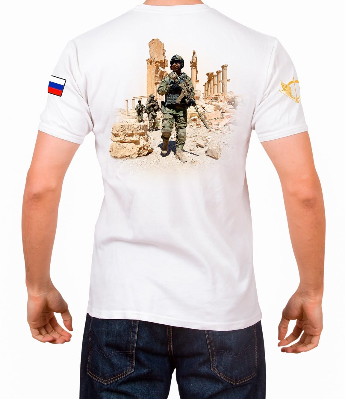 T-shirtФутболки/Поло<br>Mens T-shirt from the Syrian Collection, released in a limited edition for the Special Operations Forces of the Russian Federation.<br><br>Цвет: Белый<br>Размер: 2XL<br>Пол: Мужчинам
