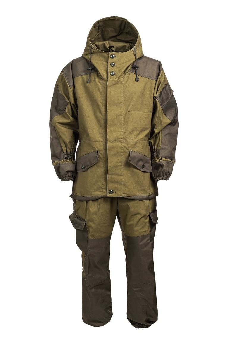 Suit «Gorka 3» oliveВерхняя одежда<br>The costume consists of a jacket and pants.<br>Straight silhouette jacket with a center clasp closed on five inner horizontal hinges, three upper and one lower through hinges, with a liner on zip.<br>Double back with a yoke  has two vent holes in the stitching to the back area.<br>A flap on a yokewith two lower inclined recess pockets with valveswith a button and hole.Sacking of the pockets made of basic fabric and adjusted to the flap. A pocket for documents with a valve, fastened to the textile fastener inside the left flap.<br>Set-in sleeves, shirt type, single-seam, with overhead inclined pockets with valves, fastened to the textile fastener. Embroidered curly reinforcement patchin the area of the elbow.The bottom of the sleeves has detachable parts and is assembled on elastic band. Above the wrist area, the sleeves are assembled on the sowing with an elastic band.Sleeves under the armhole have ventilation holes in the form of four eyelets<br>The jacket is assembled onto elastic band on the waist line in the field of side seams.<br>The jacket has a hood, free-fitting neck and head, height-adjustable textile fastener in the nape area. The two-seam hood with a shaped edge in the form of a visor and can be pulled by a cord along the edge.<br>The bottom of the jacket is smoothly lengthened behind.A cord with a carbine is inserted into the sewn sowing in the bottom of the jacket.<br>From the finishing fabric (Oxford) in the jacket are made: yoke of flap and back, overhead pockets on the sleeves and pockets valves, inner pocket, reinforcement patches on sleeves and detachable details of sleeves, sowing on sleeves and on the bottom of the jacket, middle part of hood.<br>Sleeveless removable liner fastens to a jacket on a zip braid.<br>On the side seams, the seams of the armholes and the yokethere is a double finishing stitch with a 0.2 cm wide and 0.7 cm from the seam or edge of the part.On the neck and valves of the pocket, a finishing stitchwith a 0.2 cm wide and 0.7 cm from the seam or edge of the part.  Along the edge of the bead, the seams of the hood, pads and pockets there is a finishing stitch with a 0.2 cm wide and 0.7 cm from the seam or edge of the part.<br>Pants suit straight with a one-piece belt, fastened to one horizontal loop and button, with an inner burr claspwith three loops and three buttons, with voluminous side patch pockets with valves fastened to the buttonhole and button.<br>Back halves of pants with patch pockets in reinforcing pads in the area of the middle seam, fastened to the buttonhole and button, and reinforcement pads in the area of the step joints.In the knee area, the back halves of the pants are gathered on the sowing with elastic braid.<br>The front halves of pants with side pockets in the seams and reinforcement pads in the knee area.<br>The belt is wide, assembled into two elastic bands and a cord between them. There are five loops on the belt of the trousers, two on the front halves, three on the back halves. Hinged loops for fastening braces sewn around the edge of the belt in the field of side seams. The set includes braces, that could be fastened to hinges and buttons.<br>The bottom of the trousers, below the knee level, has detachable parts and is assembled on elastic braid.Dusters sew nat the inner side.<br>From the finishing fabric (Oxford) atpants are executed: strengthening overlays on forward and back halves, burr, lateral pockets and valves of pockets, detachable details of trousers, a sowing on pants.<br>On the side, step and middle seams of pants, reinforcing strips of the back and front halves, loops a double finishing line is laid at a distance of 0.2 cm and 0.7 cm from the seam or edge of the part.<br>At the gate of the side pockets, a finishing line is placed 0.7 cm from the edge.<br>The costume is made of cloth tent (270g / m2) - 100% cotton; finishing fabric Oxford ripstop (600g / m2) - 100% polyester. Water -repellent impregnation(1500 mm Hg); fleece liner – 100% polyester.<br><br>Цвет: Светло-оливковый<br>Размер: 48,  3<br>Пол: Мужчинам
